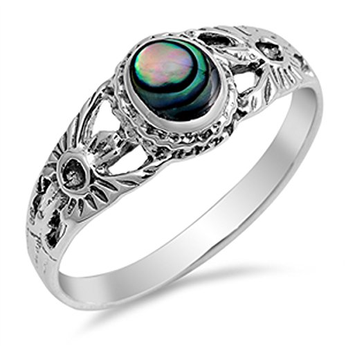 Prime Jewelry Collection Sterling Silver Shiny Women's Abalone Flower Ring (Sizes 5-10) (Ring Size 7)