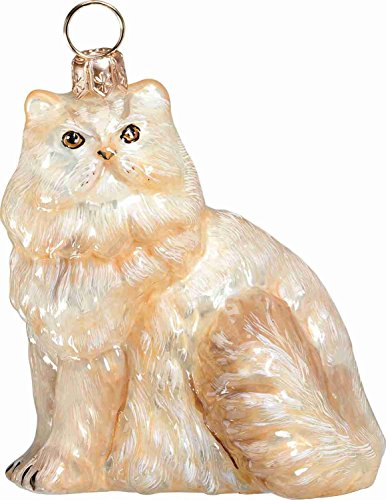 Sitting Cream Colored Persian Cat Polish Glass Christmas Ornament Decoration New