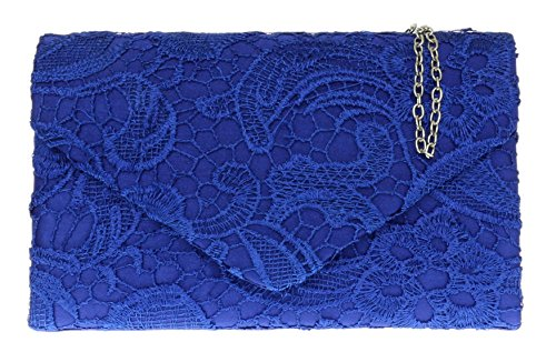 Shoulder Royal Clutch Gift Wedding Evening Chain Blue Elegant Girly Lace HandBags Bag Satin Womens Coral S8qOX
