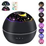 Baby Night Lights Projector Multiple Colors Star Light Rotating Projector USB Adapter for Kids (Black.) (Black.)
