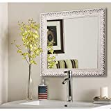Rayne Mirrors American Made French Victorian Wall Mirror, 39.5'' X 39.5'''', Antiqued White Finish