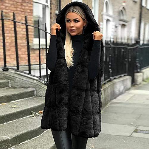 Faux Delgado Mangas Fox Fur Luckycat Chaqueta Outwear Negro Mujer Elegante Chaleco Abrigo Largo Sin nxTan8qYwp
