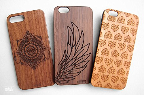Wing Pattern - Miniwood iPhone/ Samsung Case - Natural Real Wooden, Laser Engraving, Unique, Classy & Stylish Wood, Unique Case, Protective Bumper with Real All Wooden - Birthday Card Gift Tory Burch