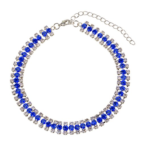 Tone Crystal Necklace (Manerson Blue Crystal Choker Women's Rhinestone Collar Necklace Wedding Party Silver Tone)