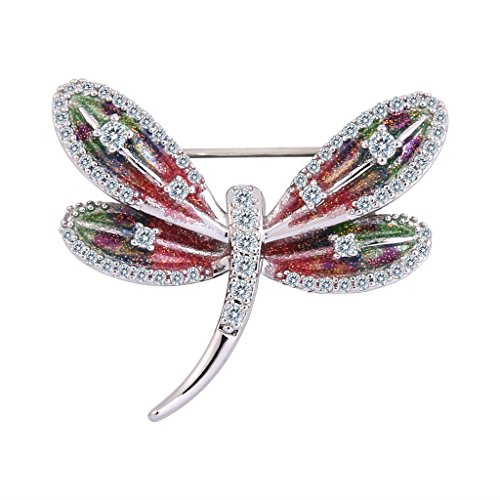 EVER FAITH Women's Zircon Enamel Cute Little Dragonfly Insect Brooch Pin Multicolor (Cubic Zirconia Dragonfly Brooch)