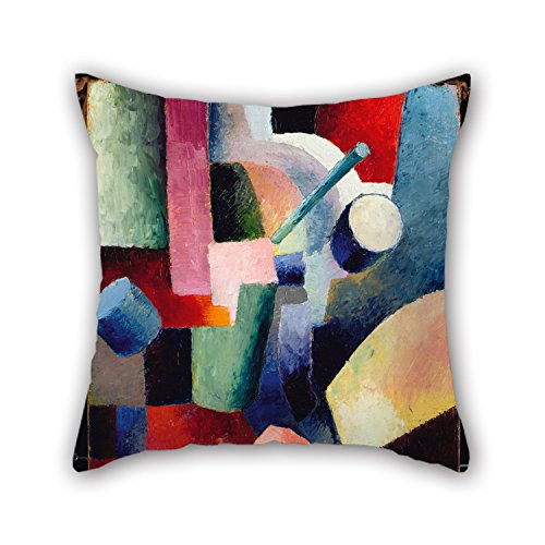Alphadecor Cushion Cases 16 X 16 Inches / 40 By 40 Cm(twin Sides) Nice Choice For Boys,bar Seat,indoor,club,kids Boys,boy Friend Oil Painting August Macke - Colored Composition Of Forms, 1914 - Brandos Costumes Filme