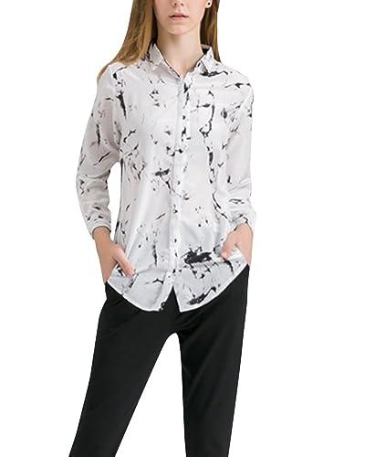 Mujer Impresión Floral de la Gasa de la Manga de la Camiseta Larga de la Blusa de las Tapas