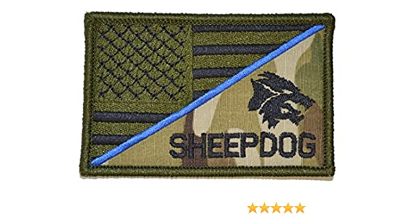 Tactical GEAR Junkie perro pastor con cabeza delgada línea azul bandera de EE. UU. 2,25 x 3,5 pulgadas moral parche: Amazon.es: Hogar