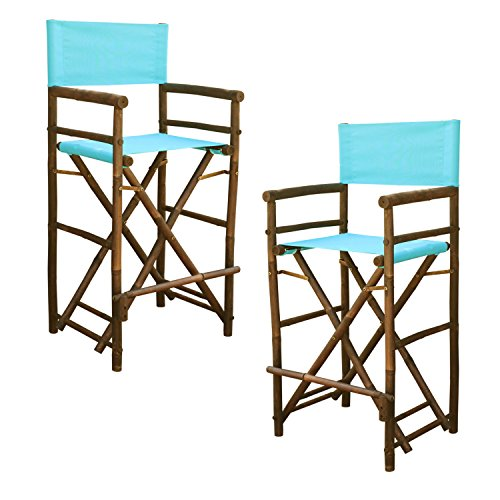 Statra Bamboo Barstool-Espresso Color Aqua Blue Canvas Bar Height Folding Chairs Counter Stool Outdoor Indoor Tall Camping Set of 2, 15 x 15