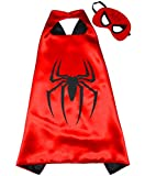 SPIDERMAN Superhero Cape and Mask for Kids - Boys Girls Superheroes Party Costume Children Fancy Dress up Capes for 2 to 11 years - Satin Double-sided - King Mungo - KMSC001