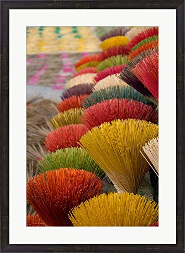 Colorful Handmade Incense Sticks, Da Nang, Vietnam by Cindy Miller Hopkins/Danita Delimont Framed Art Print Wall Picture, Espresso Brown Frame, 25 x 34 inches