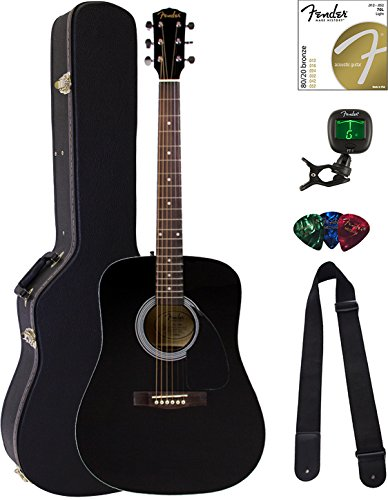 Black Dreadnought Guitar Case - Fender FA-100 Dreadnought Acoustic Guitar - Black Bundle with Hard Case, Tuner, Strings, Strap, and Picks