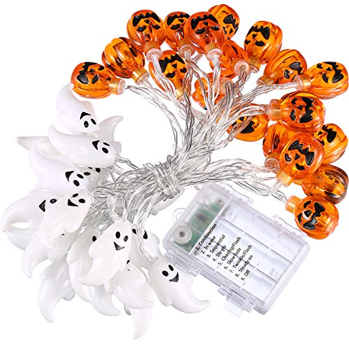 Boao 19.7 ft Halloween String Lights Ghost Fairy and Pumpkin Lights, 40 LED Waterproof Cute Ghost and Pumpkin LED Lights Decors, 8 Modes Steady/Flickering Lights (Light Sensor) Multicolor]()