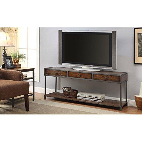Furniture of America Castor Industrial TV Console, 60-Inch, Antique Oak