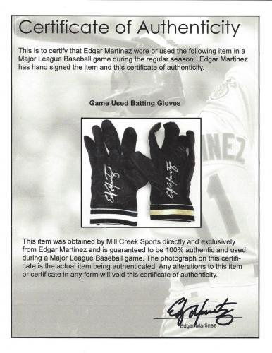 Edgar Martinez Autographed Game Used Franklin Batting Gloves Signed Cert 125280 MLB Game Used Gloves