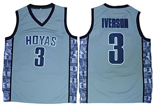 Men's Georgetown Hoyas #03 Allen Iverson College Basketball Jersey Dark Blue XXX-Large