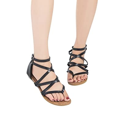 296afab21 VonVonCo Women Ladies Sandals Cross Strap Beach Fashion Flat Roman Shoes  Casual Shoes Black