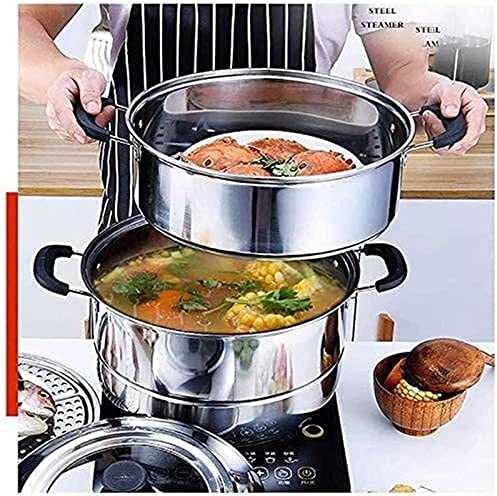 """51mbcPLQoPS. AC Pans for cooking Glass Lid Steamer Food Steamer Set 3 Tier Cooking Stainless Steel Steamer Induction Cooker General Gas Pot (Size: 28cm) (Size : 32cm) (Size : 28cm)    """"Welcome to our mallHappy shopping!Our products have been thoroughly tested, inspected and packaged before delivery.If you have any questions, please feel free to contact us so that we can provide you with the best service.""""NJOLG is committed to providing premium and long-lasting cookware, which inspires your passion for cooking.Heating method: charcoal cooker induction cooker gas cooker electric ceramic cooker, etc.?Easy to clean Safe for health Comfortable handle to keep cold Suitable for all hobs, including induction does not absorb odors and flavors safe for children and allergy sufferers durable and heat resistant Electrolytic polishing treatment in the pot: anticorrosion resistant to wear hygienic and healthy.?Material: food grade stainless steel Product process: mirror polishing process Product features: steaming under the steam / time saving and energy saving Applicable scene: kitchen / restaurant etc.?Applicable cooker: universal The lid design: seeing cooking is easier to grasp the heat of the food.?Antioverflow vent hole: helps eliminate steam and effectively prevents burns on the hands.?Steaming sheet design with two pieces of steaming pads the pot is convenient and practical for steaming.?Freestanding steaming grill freestanding the design of the steaming grill also flows delicious and has no smell.?If you are not satisfied with our products, please feel free to contact us, we will contact you within 24 hours. For more related product details, please search for """"WFGS725S""""."""