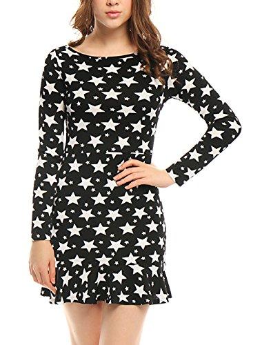 Neck Star Print - Allegra K Women's Long Sleeves Boat Neck Ruffle Hem Stars Print Dress M Black
