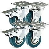 H&S® 4 x Heavy Duty 50mm Rubber Swivel Castor Wheels Trolley Furniture Caster Brak