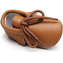 HONGTEYA Baby Moccasins Rubber Sole Non Slip Lace up Kids Boots For Boys and Girls