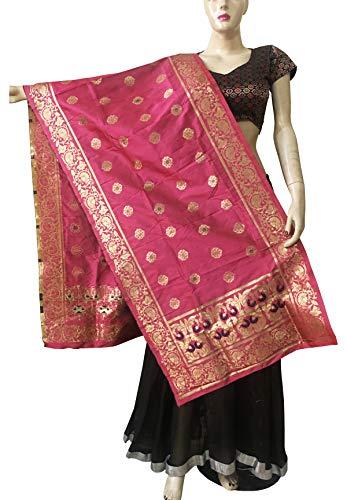 Indian Bridal Wedding Pakistani Banarasi Women Woven Cotton Silk Veil Dupatta Stole Chunni Shawl Scarf (EE Dusty Rose)
