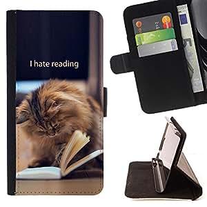 BullDog Case - FOR/Samsung Galaxy Note 4 IV / - / reading book funny cat longhair brown /- Monedero de cuero de la PU Llevar cubierta de la caja con el ID Credit Card Slots Flip funda de cuer