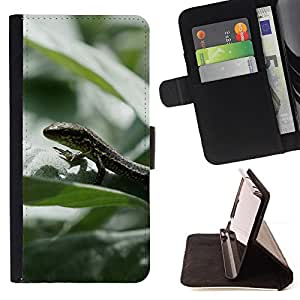 DEVIL CASE - FOR Sony Xperia m55w Z3 Compact Mini - Lizard Rainforest Summer Green Nature - Style PU Leather Case Wallet Flip Stand Flap Closure Cover