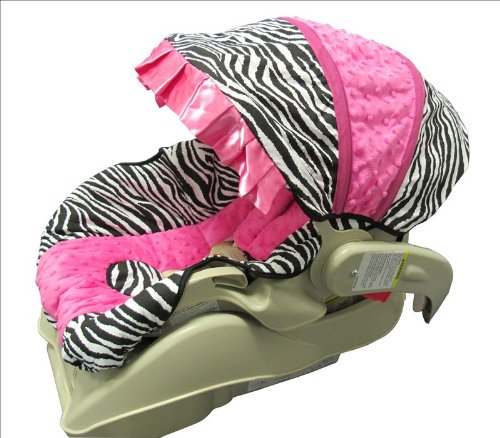 Hot Pink Minky and Zebra Infant Car Seat Cover Set-Version B (Zebra Car Seat Covers Baby Pink)