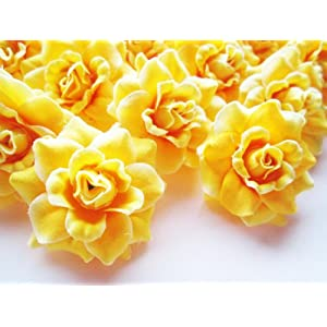 "(24) Silk Yellow Roses Flower Head - 1.75"" - Artificial Flowers Heads Fabric Floral Supplies Wholesale Lot for Wedding Flowers Accessories Make Bridal Hair Clips Headbands Dress 117"