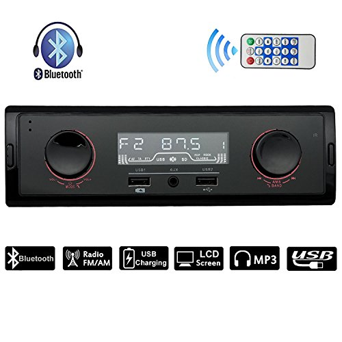 CARLIKE Car Stereo Audio Receiver AM/FM Radio MP3 player with Bluetooth USB Charging/Aux in/Single Din In-Dash with Wireless Remote(No CD/DVD) by CARLIKE