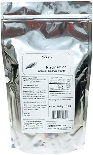 NuSci Niacinamide Vitamin B3 Pure Powder Energy 500 grams 1.1 lb
