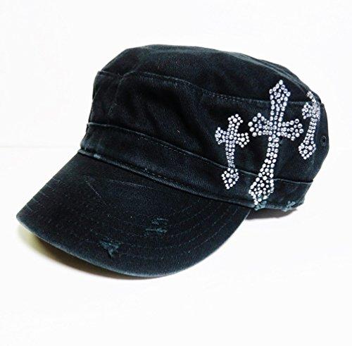 Rhinestone Triple Cross Black Cadet Cap Hat Headwear