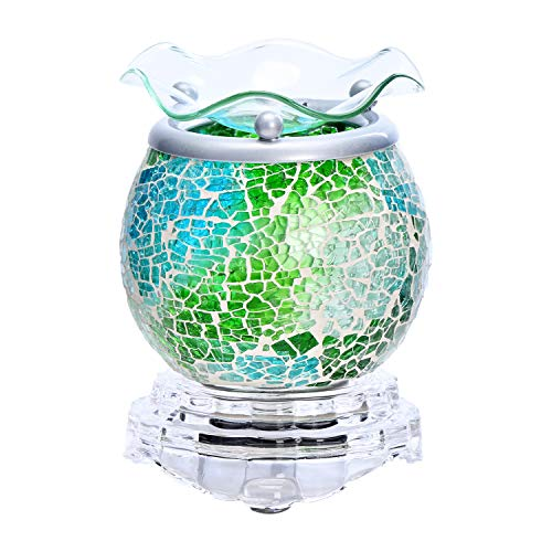 """ASAWASA Handcrafted Mosaic Glass Electric Wax Melt Warmer, Fragrance Warmer Night lamp, for Home Bedroom Kitchen Garage Gifts Décor Aromatherapy Spa 3.7"""" x 3.7"""" x 4.17""""(Blue-Green Ocean)"""