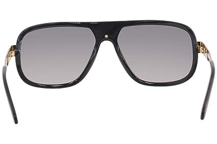 ba965a9f94 Cazal Legends 665 001SG Black Gold Plastic Aviator Sunglasses Grey Gradient  Lens  Amazon.co.uk  Clothing
