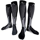 Womens & Mens Compression Socks Men 20-30 mmhg best for flight pregnancy nurse varicose veins stamina flying (L-XL, Grey - Black)