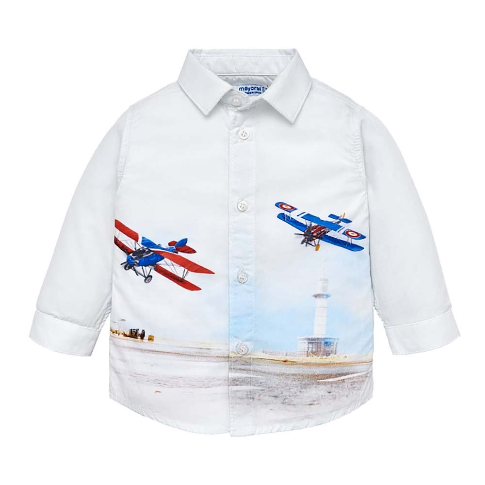 Mayoral Sharp Baby Boys Button Front Bi-Planes Shirt