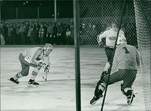 Vintage photo of Bandylaget Bolln228;s Bandy: s forward H229;kan Karlsson in action during the match Sweden - Norway ()