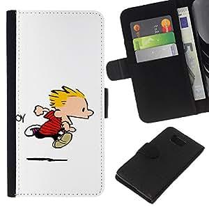 """A-type (Calvin Hobbs"""") Colorida Impresión Funda Cuero Monedero Caja Bolsa Cubierta Caja Piel Card Slots Para Samsung ALPHA G850"""