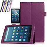 Mignova for All-New Amazon Fire HD 8 Tablet (7th Generation, 2017 Release Only) - Slim Folding Stand Cover for Fire HD 8 7th Generation + Screen Protector Film and Stylus Pen (Purple)