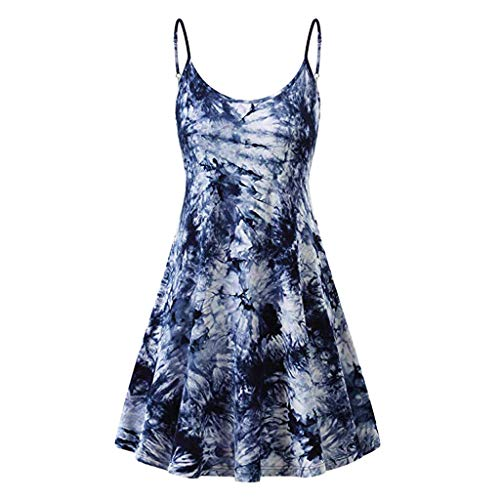 Sanyyanlsy Women's Tie Dyed Or Solid Color Spaghetti Strap Skater Pleated Slim Above Knee Mini Dress Daily Beach Style Blue