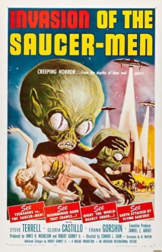 (Horror Invasion of The Saucer-Men Sci-Fi Movie Vintage Poster Art Print 17 x 26 Archival Ink in Glossy Paper )