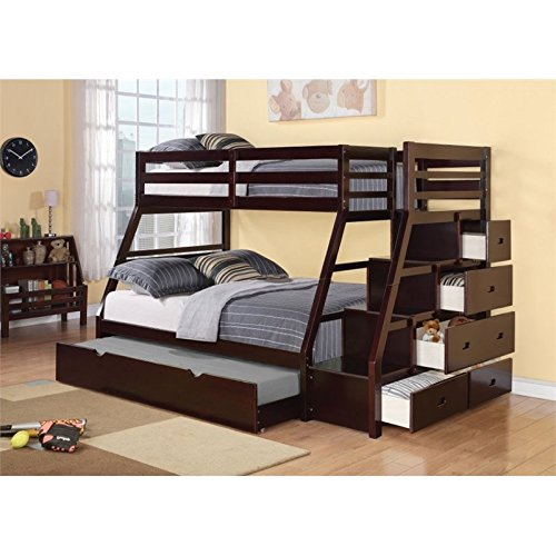 Cottage Collection Trundle - ACME Jason Twin/Full Bunk Bed with Storage Ladder and Trundle
