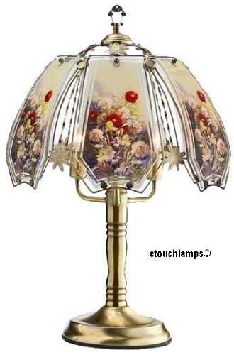 Flower Touch Lamp 12 with Antique Brass Base