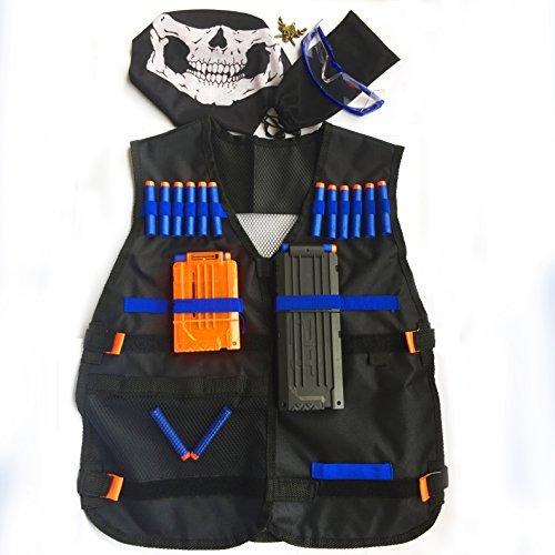 GFU Taktische Weste für intensive Nerf Battles als Kit mit 16 Stück blauen Darts, Schutzbrille, 2 Magazinen für je 5 und 11 Darts, einer Maske im Schädeldesign und einem kleinen Anhänger. Für Nerf Spielzeug-Gewehre der Nerf N-Strike Elite Serie.