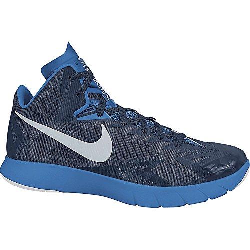 Scarpa Da Basket Nike Mens Lunar Hyperquickness, Nav / Wht, Sz 6