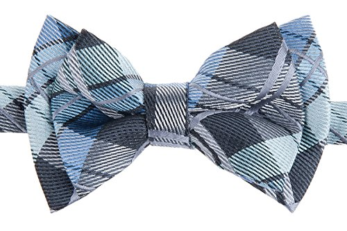 Retreez Elegant Tartan Plaid Check Woven Microfiber Pre-tied Boy's Bow Tie - Dark Grey and Blue - 4 - 7 years (Tartan Check)