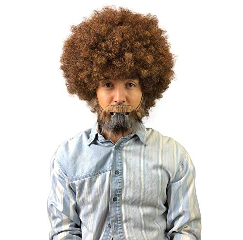 (80's Painter Afro Wig with Full Beard and Mustache Set,)