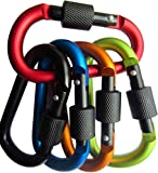 LeBeila 5 PCS Carabiner Climbing D Ring Keychain with Clip Durable Heavy Duty Aluminum Screw Locking Hooks for Hiking, Fishing and Outdoors (Mixed 1)