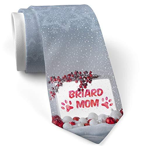 - Christmas NeckTie Dog & Cat Mom Briard White with Snow